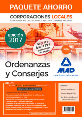 DESCARGAR PAQUETE AHORRO ORDENANZAS Y CONSERJES DE CORPORACIONES LOCALES.