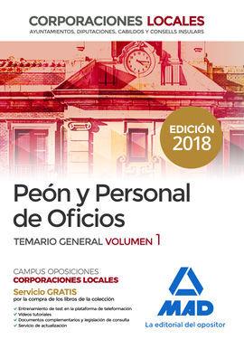 DESCARGAR PEONES Y PERSONAL DE OFICIOS DE CORPORACIONES LOCALES. TEMARIO GENERAL VOLUMEN 1